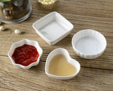 Dipping Bowls 4 Pieces Heart Shaped Ceramic Sauce Dishes - White
