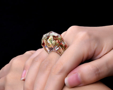 Rings for Kids Dried Flowers Resin Ring with Gift Box