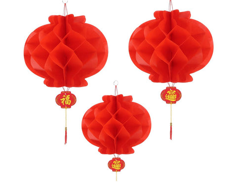 Set of 20 Red Paper Lanterns for Chinese New Year