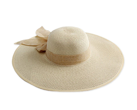 Foldable Straw Hat with Bowknot for Women