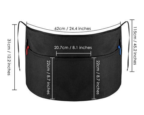 Waist Apron with 3 Pockets 24 x 12 Inches Waitress Server Apron - Black