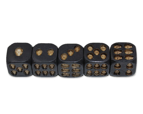 Skull Dice 5 Pieces 18mm Resin Dice - Black