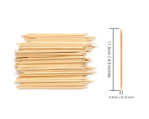 Wooden Sticks for Nails 100 Pieces 4.5 Inches Cuticle Pusher