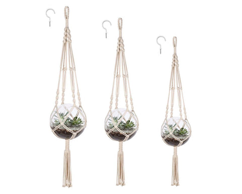 Macrame Plant Hangers Set of 3 Hanging Plant Holders with Plant Hooks