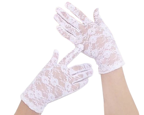 Lace Gloves for Women Elegant Short Floral Gloves for Wedding
