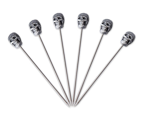Skull Cocktail Picks 6 Pieces Stainless Steel Fruit Pick