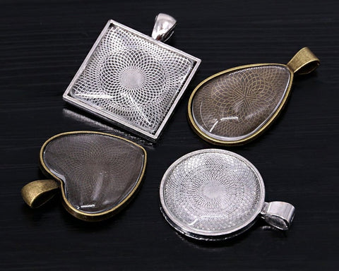 4 Styles Pendant Trays Set of 24 Jewelry Blanks with Cabochons