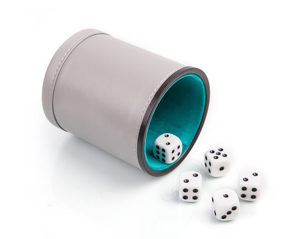 PU Leather Dice Cup with 5 Pieces Dot Dices