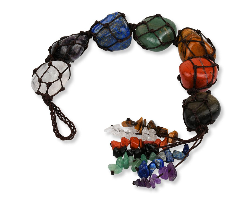 7 Chakra Stones Good Luck Hanging Gemstones Ornament for Car and Home