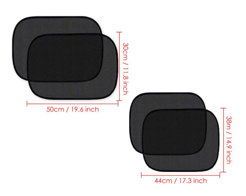 Car Window Shades 4 Pieces UV Protection Cling Sun Shades