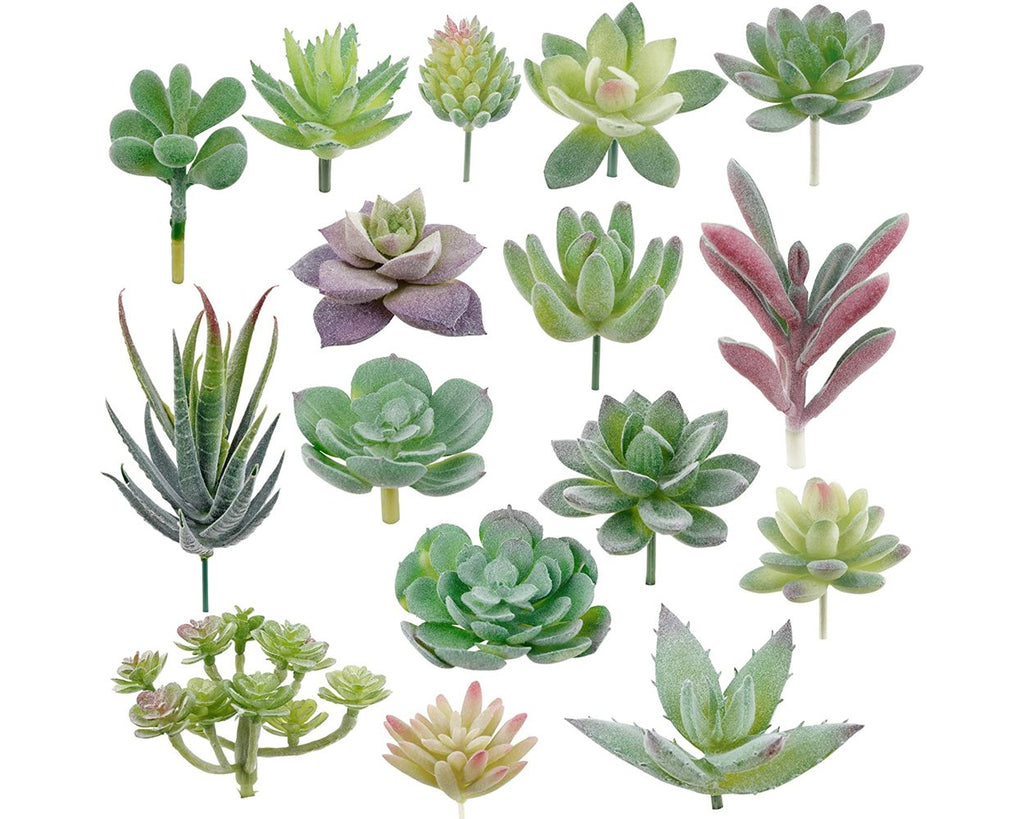 Fake Succulents Set of 16 Mini Artificial Succulent Plants