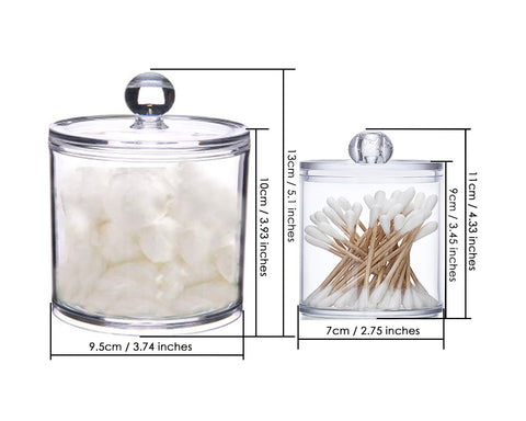 Plastic Cotton Ball and Swab Holder with Lid 2 Pieces Apothecary Jars