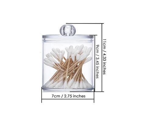 Plastic Cotton Swab Holder with Lid 2 Pieces Bathroom Apothecary Jars