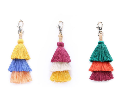 Bag Charm Pom Pom Keychain 3 Pieces Tassel Boho Accessory