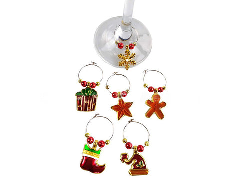 6 Pieces Christmas Wine Glass Charms Rings