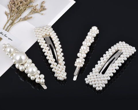 Pearls Hair Clips 4 Pieces Bridal Hair Barrettes
