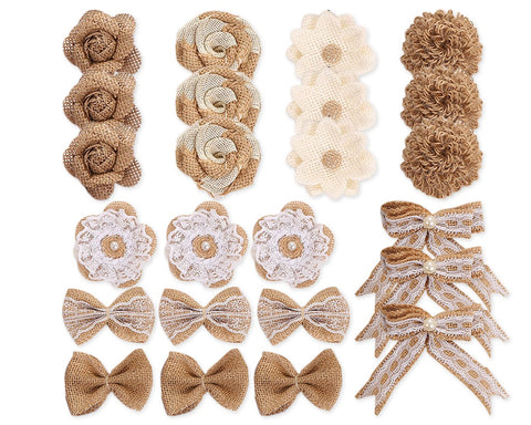 Burlap Flowers 24 Pieces Handmade Rustic Rose Flower Bowknot