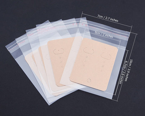 Earring Display Cards with Self-Seal Bags 200 Pieces Kraft Paper Earring Tags