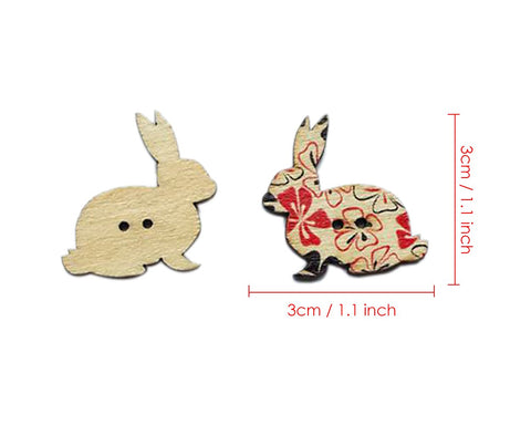Bunny Sewing Buttons 100 Pieces Wooden Buttons 2 Hole Buttons