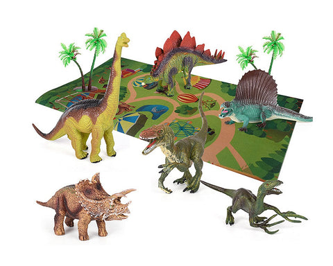 Dinosaur Figures with Jungle Play Mat and Trees Playset