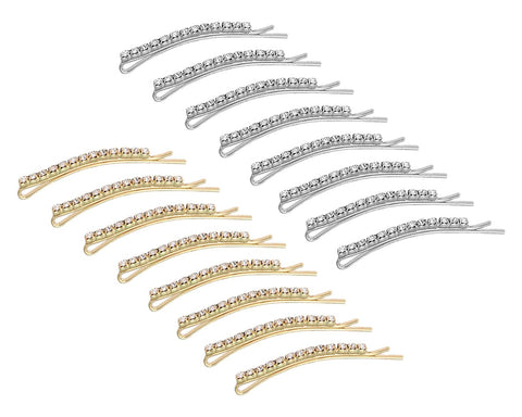 Rhinestone Bobby Pins 16 Pieces Hair Clips - Gold and Silver