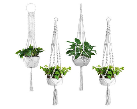 Macrame Plant Hangers Set of 4 Wall Hanging Planters with Plant Hooks