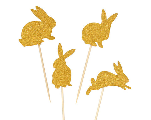 Cake Toppers 50 Pieces Easter Bunny Cupcake Picks - Gold