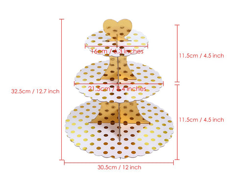 Round Cardboard cake Stand and 2 Pcs 3-Tier Cardboard Cupcake holders