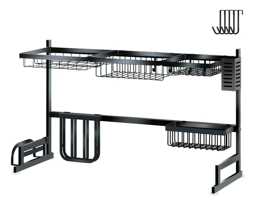 Dish Dying Rack 33.5 Inch Over Sink Storage Counter Organizer - Black