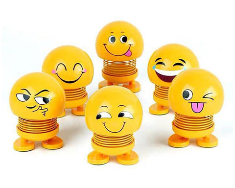 Emoji Shaking Head Dolls 6 Pieces Cute Spring Bobblehead for Car Decor