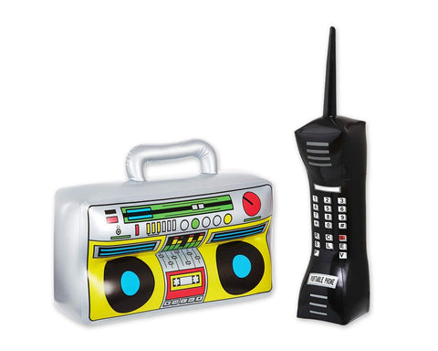 80s Party Decorations 2 Pieces Inflatable Radio Boombox and Mobile Phone