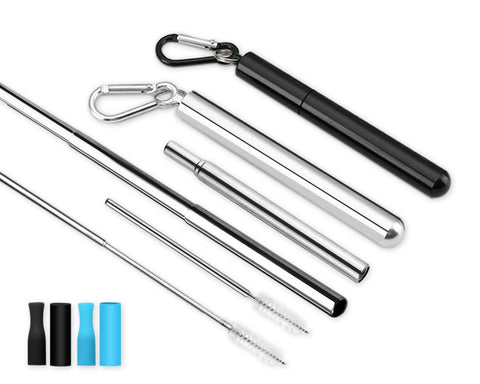 Stainless Steel Straw 2 Pieces Telescopic Straw with Case and Cleaning Brush