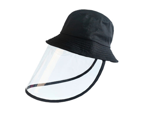 Fishing Hat with Removable Face Shield Sun Protection Hat - Black