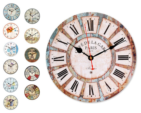 "12"" Retro Retro Style Quiet Sweep Quartz Wall Clock"