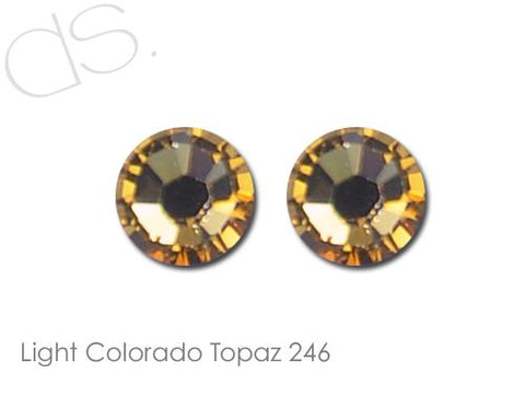 Light Colorado Topaz 246 Flatback Crystal Rhinestones