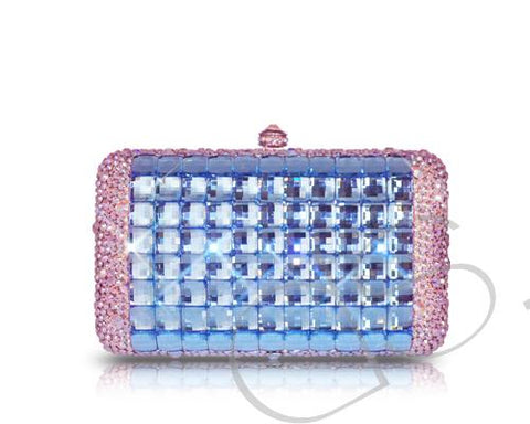 Cubical Blue Crystallized Clutch - 14cm
