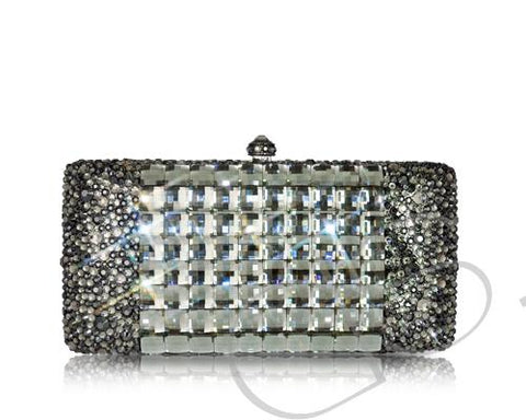 Cubical Crystal Clutch Bag - Black 14cm