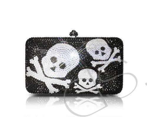 Crossbones Crystal Clutch Bag - 14.5cm