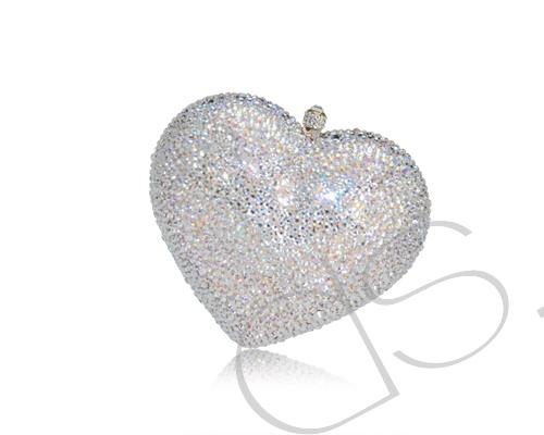 Classic Heart Crystallized Clutch - White 13cm