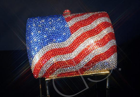 USA Flag Crystal Clutch Bag - 15cm