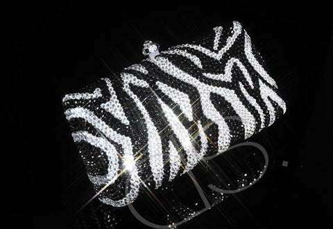 Zebra Striped Crystal Clutch Bag - 15cm