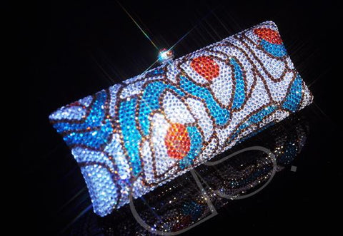 Sliver Flowers Crystal Hand Bag - 14.5cm