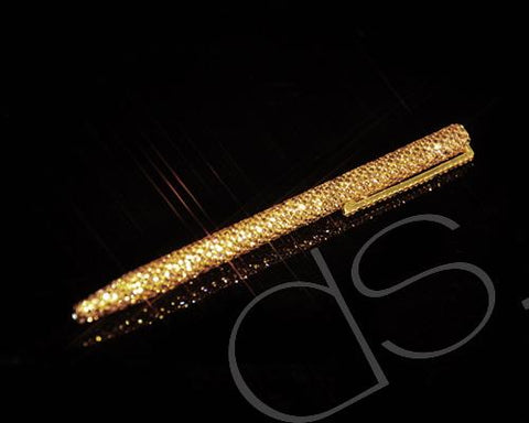 Gold Brick Swarovski Crystallized Long Ball Pen