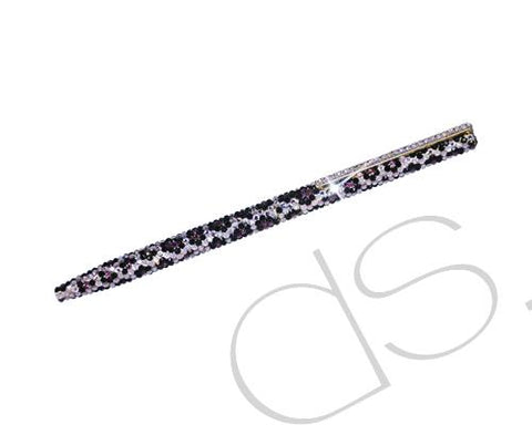 Leopardo Blossomed Swarovski Crystallized Long Ball Pen