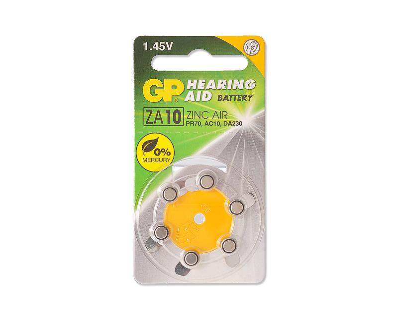 GP ZA10F Zinc Air Button Cell Hearing Aid Battery Size 10, 6 Pcs/Pack