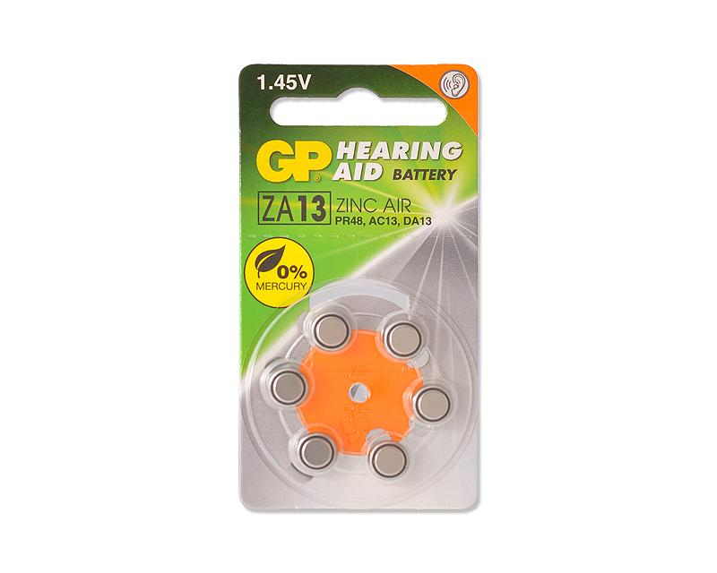 GP ZA13F Zinc Air Button Cell Hearing Aid Battery Size 13, 6 Pcs/Pack