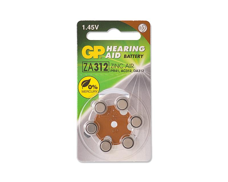 GP ZA312F Zinc Air Button Cell Hearing Aid Battery Size 312,6 Pcs/Pack