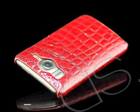 Krokodil Series HTC Desire HD Leather Case - Red