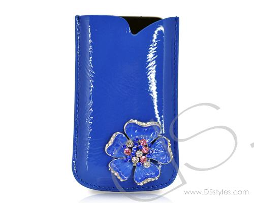 Mini Flower Series iPhone 4 and 4S Soft Pouch Case - Blue