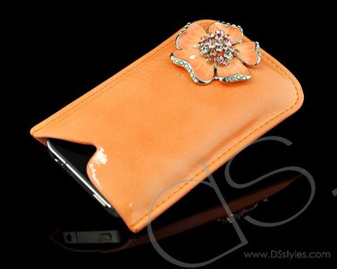 Mini Flower Series iPhone 4 and 4S Soft Pouch Case - Orange